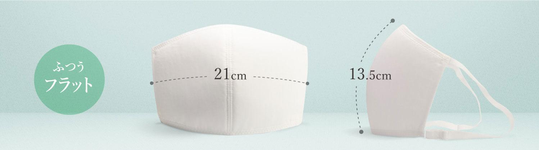 タテ(中心部分、鼻からあご・マスク表面のカーブに沿った長さ)13.5cm±1cmヨコ(中央部分)(マスク中心部分の表面のカーブに沿った長さ)21cm±1cm