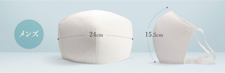 タテ(中心部分、鼻からあご・マスク表面のカーブに沿った長さ)15.5cm±1cmヨコ(中央部分)(マスク中心部分の表面のカーブに沿った長さ)24cm±1cm
