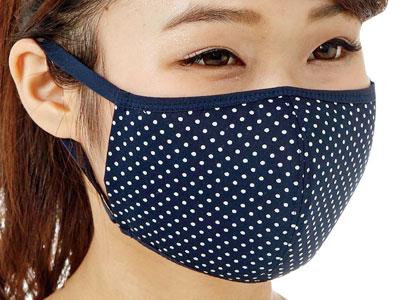 UVカットマスク・フィルターポケットなしドットブルー